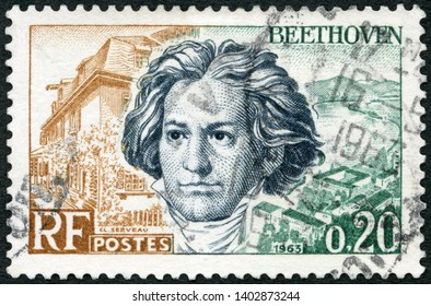 MOSCOW, RUSSIA - MAY 08, 2019: A stamp printed in France shows Ludwig van Beethoven (1770-1827), Birthplace at Bonn and Rhine, 1963
