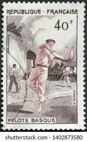 MOSCOW, RUSSIA - MAY 08, 2019: A stamp printed in France shows Basque pelota, Jai alai, 1956