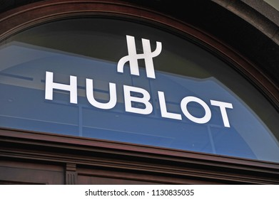 MOSCOW, RUSSIA - MAY 08: Logo of Hublot flagship boutique in Moscow on May 8, 2018. Hublot is a swiss luxury watchmaker brand.