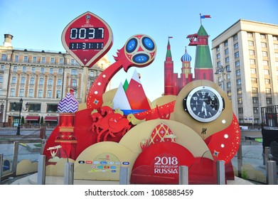 MOSCOW, RUSSIA - MAY 08: Official World Cup 2018 countdown in city center of Moscow on May 8, 2018.