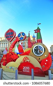 MOSCOW, RUSSIA - MAY 08: Official countdown clock of World Cup 2018 in Moscow on May 8, 2018.