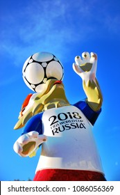 MOSCOW, RUSSIA - MAY 08: Zabivaka, official symbol of FIFA World Cup 2018 in Moscow, Russia on May 8, 2018.