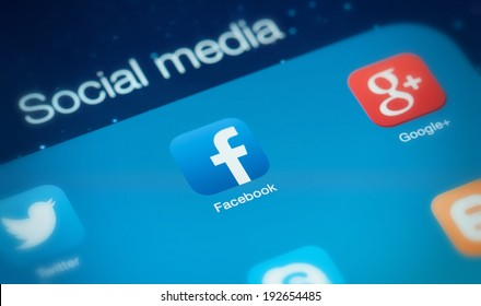MOSCOW, RUSSIA - MAY 09, 2014: Popular social media icons. Social media is the interaction among people in which they create and exchange information in virtual communities