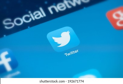 MOSCOW, RUSSIA - MAY 09, 2014: Twitter icon on screen. Twitter is an online social networking service that enables users to send short character text messages.