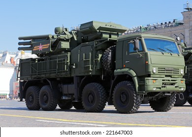 MOSCOW, RUSSIA - MAY 09, 2014: Celebration of the Victory Day (WWII). Solemn passage of military hardware on Red Square. Pantsir-S1 (SA-22 Greyhound) surface-to-air missile and anti-aircraft artillery