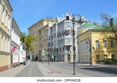 Moscow, Russia, May, 09, 2015, Russian scene: people walking on Pyatnitskaya street in Moscow