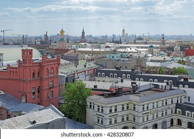 MOSCOW, RUSSIA - MAY 09, 2016: Cityscape, view of the Central part of the city (Moscow Kremlin) from the roof of the building