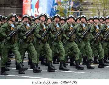 MOSCOW, RUSSIA - MAY 09, 2017: Paratroopers of the 331st guards airborne regiment in Kostroma during the parade on red square in honor of Victory Day.