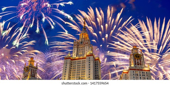 MOSCOW, RUSSIA – MAY 09, 2019: Fireworks over the Moscow State University on Sparrow Hills (at night), main building, Russia. It is the highest-ranking Russian educational institution