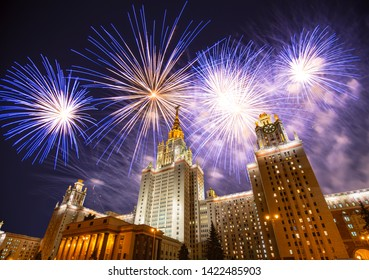 MOSCOW, RUSSIA – MAY 09, 2019: Fireworks over the Lomonosov Moscow State University on Sparrow Hills (at night), main building, Russia. It is the highest-ranking Russian educational institution