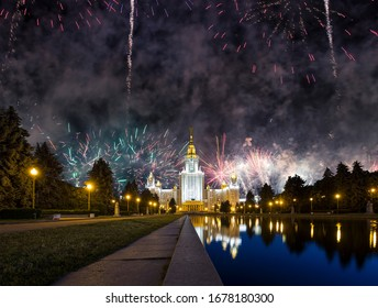MOSCOW, RUSSIA - MAY, 09 2019:Lomonosov Moscow University (main building) and fireworks in honor of Victory Day celebration (WWII)