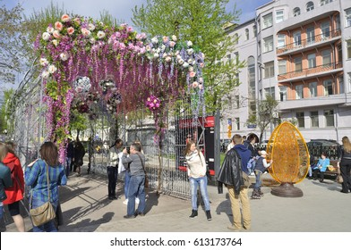 MOSCOW , RUSSIA - MAY 1, 2016: Easter decorations at the Tverskoy Boulevard.
