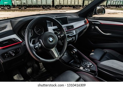 MOSCOW, RUSSIA - MAY 1, 2017 BMW X1 (F48) X-DRIVE, subcompact luxury SUVs car, interior view. The F48 is the second and current generation model with all-wheel drive. Test of new car - BMW X1 xDrive