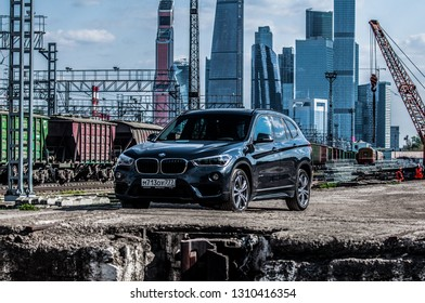 MOSCOW, RUSSIA - MAY 1, 2017 BMW X1 (F48) X-DRIVE, subcompact luxury SUVs car, front-side view. The F48is the second and current generation model with all-wheel drive. Test of new car - BMW X1 xDrive