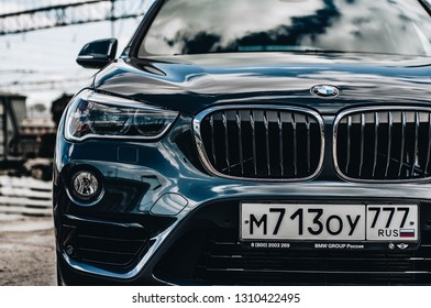 MOSCOW, RUSSIA - MAY 1, 2017 BMW X1 (F48) X-DRIVE, subcompact luxury SUVs car, front-side view. The F48 is the second and current generation model with all-wheel drive. Test of new car - BMW X1 xDrive