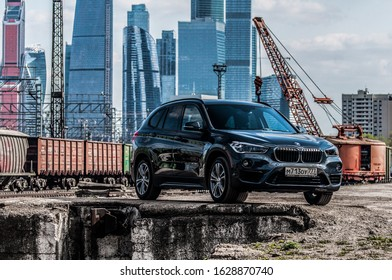 MOSCOW, RUSSIA - MAY 1, 2017 BMW X1 (F48), subcompact luxury SUVs car, front-side view. The F48 X1 is the second and current generation model with all-wheel drive. Test of new car - BMW X1 xDrive 20i