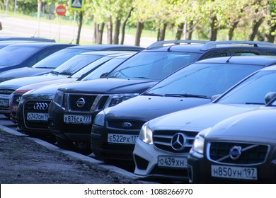 Moscow, Russia - May, 10, 2018: cars on a parking in Moscow
