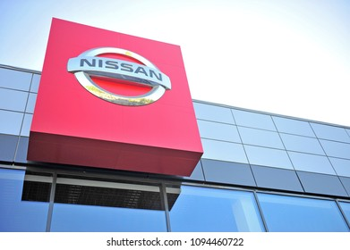 MOSCOW, RUSSIA - MAY 10, 2018: Facade of Nissan automaker dealer center on May 10, 2018.