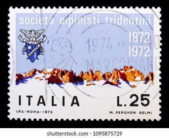 MOSCOW, RUSSIA - MAY 10, 2018: A stamp printed in Italy shows Brenta Group, Tridentine Alpinists Society serie, circa 1972