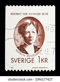 MOSCOW, RUSSIA - MAY 10, 2018: A stamp printed in Sweden shows Kerstin Hesselgren, Women's Suffrage, serie, circa 1971