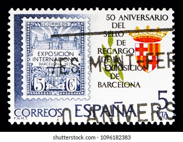 MOSCOW, RUSSIA - MAY 10, 2018: A stamp printed in Spain shows 50th Anniversary, Exhibition of Barcelona, Philately serie, circa 1979