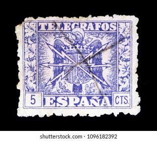 MOSCOW, RUSSIA - MAY 10, 2018: A stamp printed in Spain shows Telegrafos, serie, circa 1940