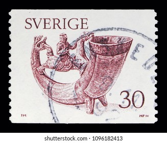 MOSCOW, RUSSIA - MAY 10, 2018: A stamp printed in Sweden shows Drinking Horn, Definitives serie, circa 1976