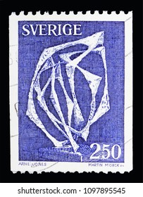 MOSCOW, RUSSIA - MAY 10, 2018: A stamp printed in Sweden shows Space without Affiliation (sculpture by Arne Jones), Definitives serie, circa 1978