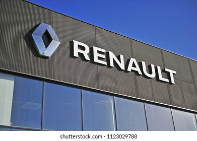 MOSCOW, RUSSIA - MAY 10, 2018: Facade of Renault dealer center on May 10, 2018.