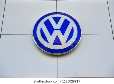 MOSCOW; RUSSIA - MAY 10; 2018: Logo of Volkswagen automotive manufacturer on May 10; 2018.