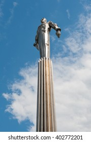MOSCOW, RUSSIA - MAY 11, 2015: Monument to Yuri Gagarin (the first human in space)