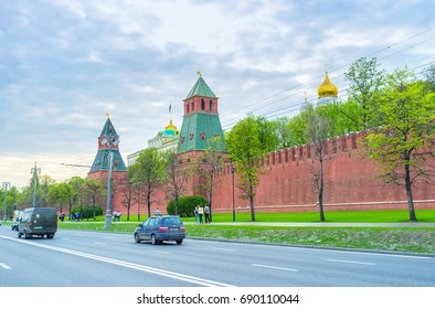 MOSCOW, RUSSIA - MAY 11, 2015: Kremlin embankment is the best place for walking enjoying view on towers of Kremlin, on May 11 in Moscow