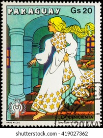 """MOSCOW, RUSSIA - MAY 11, 2016: A stamp printed in Paraguay shows Cinderella in palace - scene from a fairy tale, series """"International Year of the Child - Grimm's Fairy Tale Cinderella"""", circa 1979"""