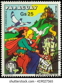 """MOSCOW, RUSSIA - MAY 11, 2016: A stamp printed in Paraguay shows Cinderella and Prince - scene from a fairy tale, series """"International Year of the Child - Grimm's Fairy Tale Cinderella"""", circa 1979"""