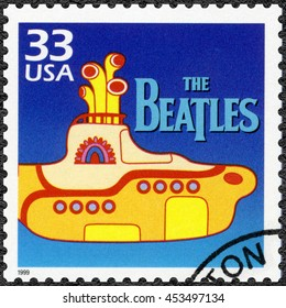 MOSCOW, RUSSIA - MAY 11, 2016: A stamp printed in USA shows The Beatles Yellow Submarine, musical fantasy comedy, 1968, series Celebrate the Century, 1960s, circa 1999