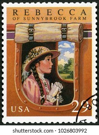 MOSCOW, RUSSIA - MAY 11, 2017: A stamp printed in USA shows Rebecca of Sunnybrook farm by Kate Douglas Wiggin, Classic Books, 1993