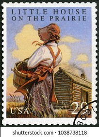 MOSCOW, RUSSIA - MAY 11, 2017: A stamp printed in USA shows Little House on the Phairie by Laura Ingalls Wilder, Classic Books, 1993