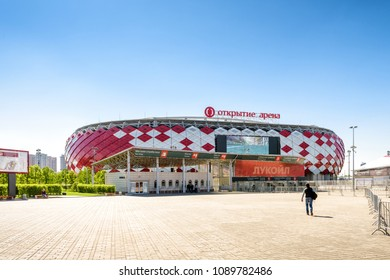 Moscow, Russia - May 11, 2018: Main view of Spartak Stadium or Otkritie Arena. New modern stadium in Moscow for football. Spartak Stadium has been selected for the 2018 FIFA World Cup.