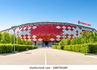 Moscow, Russia - May 11, 2018: Sunny view of Spartak Stadium or Otkritie Arena. New modern stadium in Moscow for football. Spartak Stadium has been selected for the 2018 FIFA World Cup.