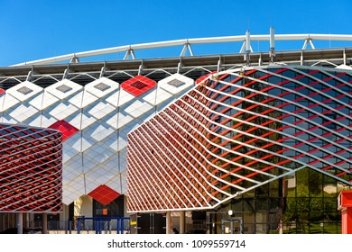 Moscow, Russia - May 11, 2018: Detail of Spartak Stadium (Otkritie Arena) exterior in Moscow. New modern stadium in Moscow for soccer. Spartak Stadium has been selected for the 2018 FIFA World Cup.