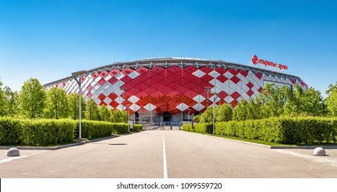 Moscow, Russia - May 11, 2018: Panoramic view of Spartak Stadium or Otkritie Arena in summer. New modern stadium in Moscow for football. Spartak Stadium has been selected for the 2018 FIFA World Cup.