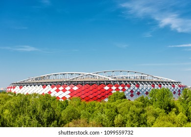 Moscow, Russia - May 11, 2018: Scenic view of Spartak Stadium (Otkritie Arena) for background. New modern stadium in Moscow for football. Spartak Stadium has been selected for the 2018 FIFA World Cup.