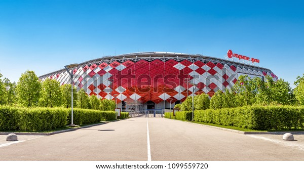 Moscow, Russia - May 11, 2018: Panoramic view of Spartak Stadium or Otkritie Arena in summer. New modern stadium in Moscow for soccer. This city stadium has been selected for FIFA World Cup.
