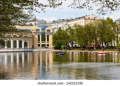 MOSCOW, RUSSIA - MAY 11: Clean Ponds (Chistye Prudy) in Moscow, Russia on May 11, 2013.The pond was cleaned and acquired its present name in the 17th century.