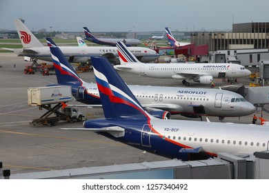 MOSCOW, RUSSIA - MAY 12, 2012: Various airlines at Moscow Sheremetyevo Airport, Russia. Sheremetyevo (SVO) is the busiest airport in Russia, with 40 million annual passengers.