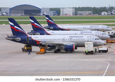 MOSCOW, RUSSIA - MAY 12, 2012: Aeroflot Russian Airlines fleet at Moscow Sheremetyevo Airport, Russia. Sheremetyevo (SVO) is the busiest airport in Russia, with 40 million annual passengers.