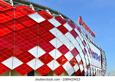 MOSCOW, RUSSIA - MAY 12, 2018: Otkrytie Arena (or Spartak Stadium), multi-purpose stadium. It was opened in 2014. It is one of 12 stadiums in Russia selected to host 2018 World Cup. Fragment