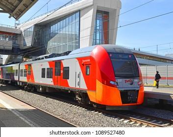 MOSCOW, RUSSIA - MAY 12, 2018: Moscow Central Circle or MCC. Train Lastochka at Panfilovskaya Station