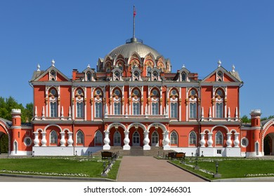 MOSCOW, RUSSIA - MAY 12, 2018:  Petrovsky Palace was built for Catherine Great and designed by famous Russian architect Matvei Kazakov in 1782. In 1923 palace housed Zhukovsky Air Force Academy
