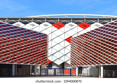 MOSCOW, RUSSIA - MAY 12, 2018: Arena (or Spartak Stadium), multi-purpose stadium. It is one of 12 stadiums in 11 Russian cities selected to host 2018 World Cup. Eastern stands